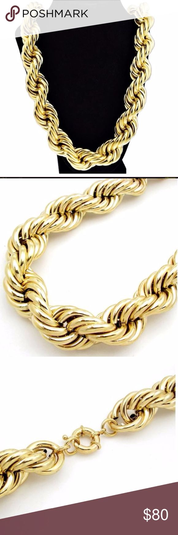 Men's classic 1980's Hip Hop Style Huge Bold Hollo Men's classic 1980's Hip Hop Style  Huge Bold Hollow Rope Dookie Chain 30mm 30'' NA Jewelry Necklaces