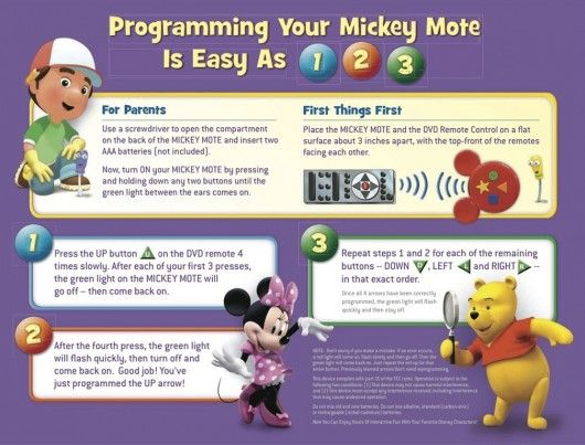 a kids' remote control that works with any Disney Preschool DVD that includes Discovery Mode. And this post tell you how to set up mickey mote!!