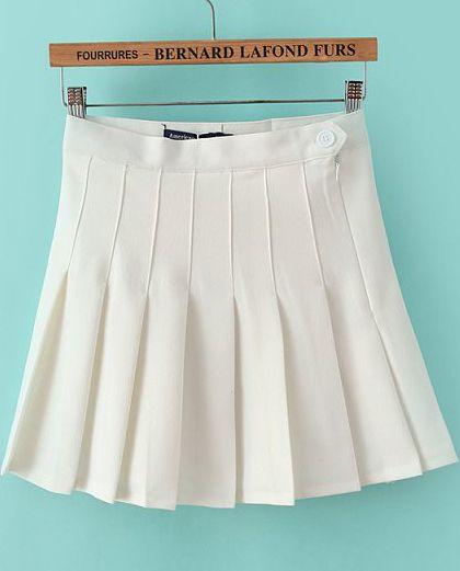 white high waist pleated skirt sheinside american
