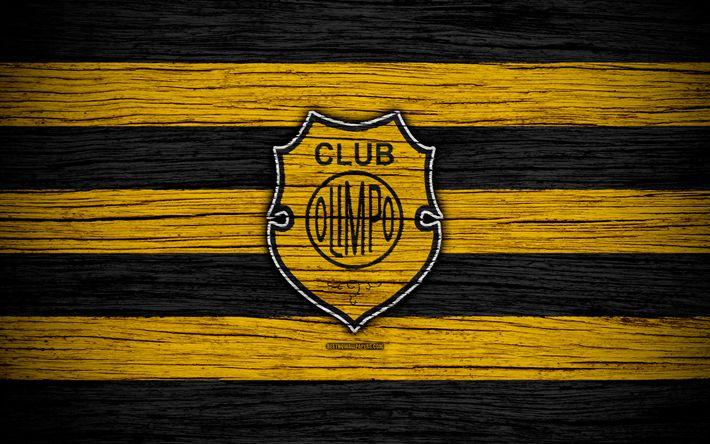 Download wallpapers Olimpo Bahia Blanca, 4k, Superliga, logo, AAAJ, Argentina, soccer, Olimpo FC, football club, wooden texture, FC Olimpo