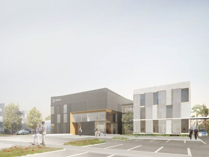 Concept project of module police station in Poland - designed by Archimed Architecture - rendering