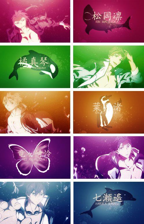 Free! Eternal Summer ~~ The Style Five and their Totem Animals :: Rin, Makoto, Nagisa, Rei, and Haruka