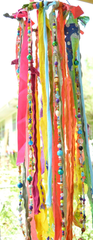 De Boho kwal Wind klokkenspel Mobile tuin kunst door HibiscusHippie