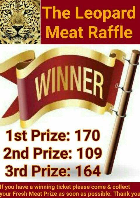 Here's this week's Winning Meat Raffle Numbers. Tickets for next Monday's draw are on sale now ☺ #TheLeopard #Tutbury #TheLeopardTutbury #MeatRaffle #Meat #Prizes #Tickets #RaffleTickets #Raffle #LuckyWinners