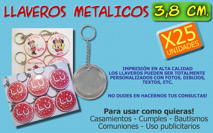 25 Llaveros Publicitarios 3,8 cm.