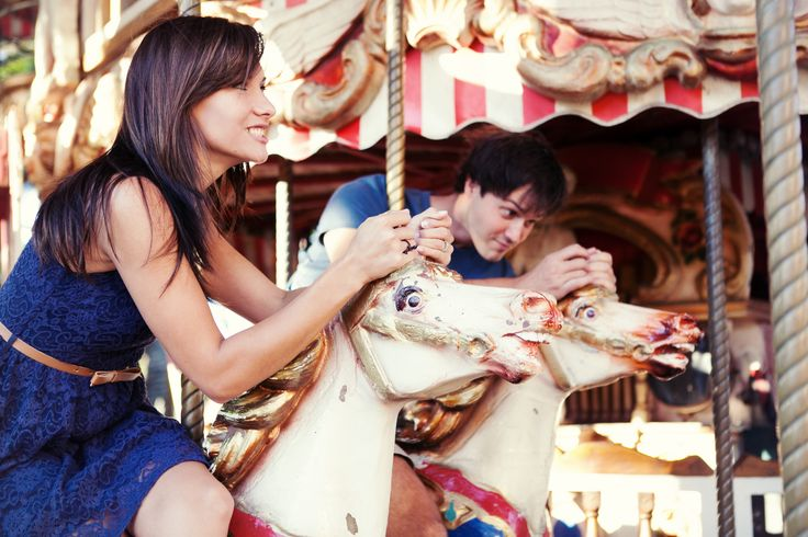 Engagement Photography - Engaged - Carousel - Colorful - Love