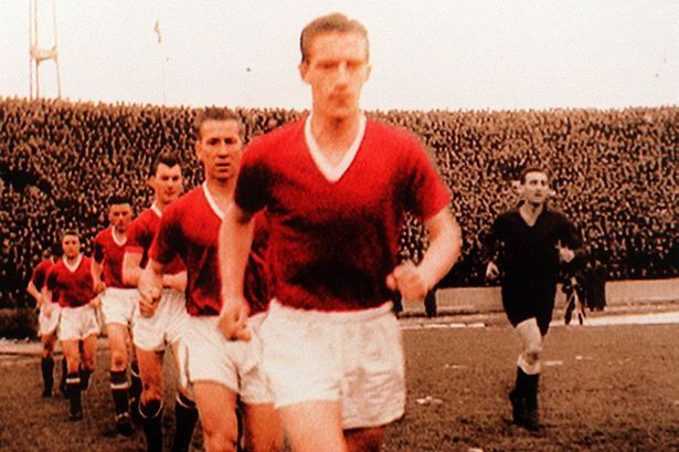 United take the field at Belgrade 1958 - Dennis Viollet is followed by Bobby Charlton
