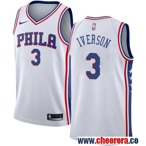 Philadelphia 76ers  3 Allen Iverson White Nike NBA Men s Stitched Jersey 869d6ae18