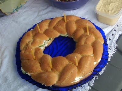 braided ring, and made into a cucumber and cream cheese sandwich.