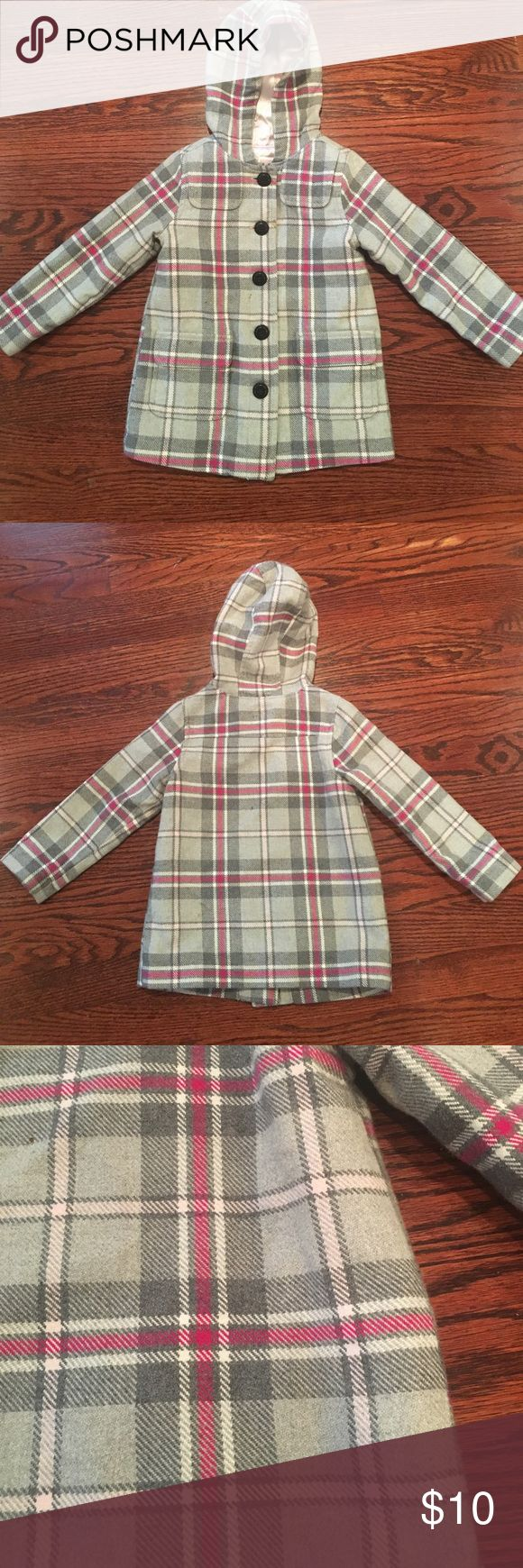 Old Navy Girls Pea Coat Adorable hey and pink plaid Pea Coat with black buttons and hood.  Two flap front pockets.  Size 3T.  In good used condition. Old Navy Jackets & Coats Pea Coats