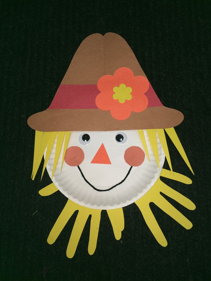 Paper Plate Scarecrow –take a white paper plate. Cut a hat out of brown paper…