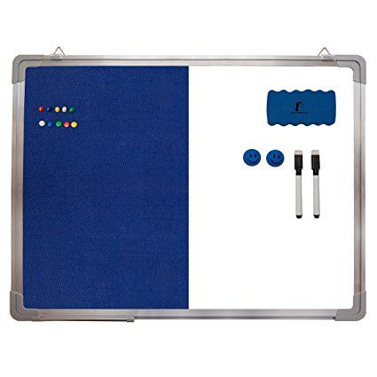 """Combination Whiteboard Bulletin Board Set - Dry Erase / Tack Felt Board 24 x 18"""" + 1 Magnetic Dry Eraser, 2 Black Marker Pens, 2 Magnets and 10 Color Pins - Combo Message White Board Office Cubicle"""