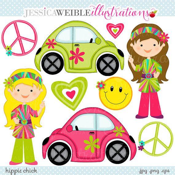 Retro Hippie Clip Art | Hippie Chick Cute Digital Clipart - Commercial Use OK - Retro Girls ...