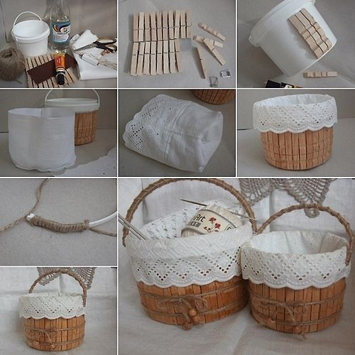 Plastic Container Clothespins Storage Basket ... pictures show how to make this yourself using a plastic bucket, take apart clothes pins, glue them on the bucket and sew a liner with lace on it
