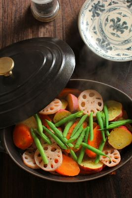 "Steamed Autumn Root Vegetables|蒸し野菜サラダ  Beautiful artistic food - but what is ""Wed""?"