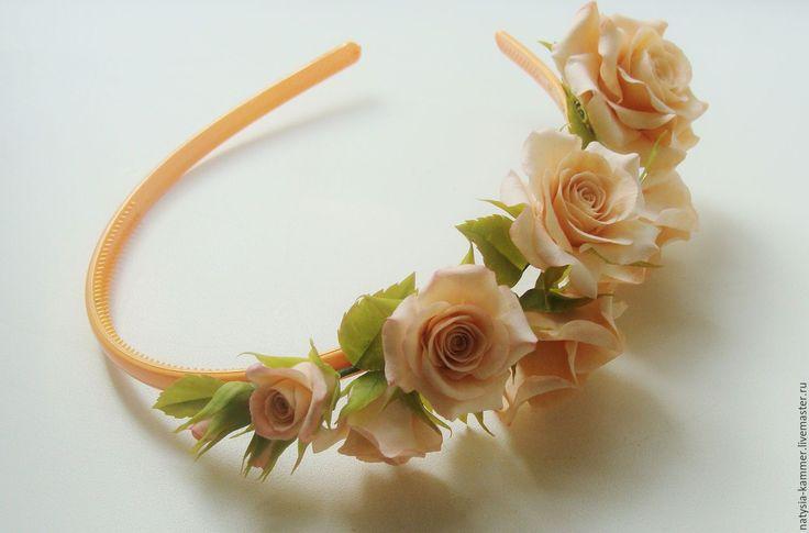 Купить Ободок с розами - кремовый, бежевый, персиковый, розы из полимерной глины, розы, ободок с цветами