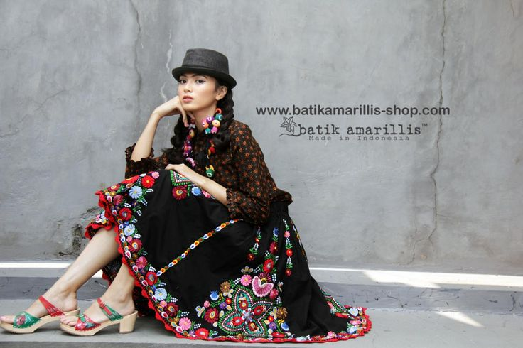 Batik Amarillis Made in Indonesia www.batikamarillis-shop.com Batik Amarillis's Anouk skirt which features Hungarian's Matyo embroidery inspired with hand knit lace /crochet all over it 🌺 available