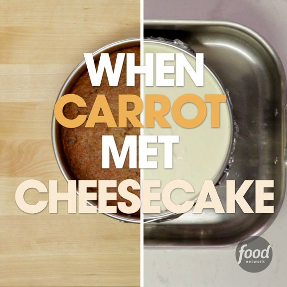 Most people would agree that the cream cheese frosting is the best part of any carrot cake, so it makes perfect sense to replace it with a thick layer of creamy cheesecake. These two classic cakes make one showstopping mash-up dessert.