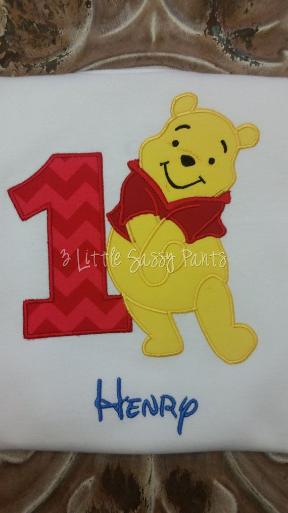 Winnie The Pooh Birthday Shirt Applique by 3LittleSassyPants