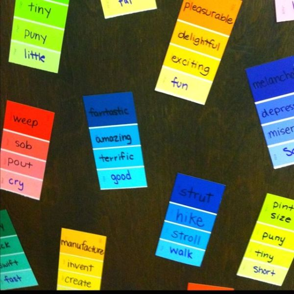 """Have the students make their writing """"more colorful"""" by using paint strips. Write a boring adjective at the bottom of the paint strip on the most boring color. Give each student a paint strip and they can use a thesaurus or a word wall to think of """"more colorful"""" words for their strip. Put the best word on the brightest part of the strip. Hang all of their strips on the door and they can use those words to help """"make their writing colorful!"""" by Shopway2much"""
