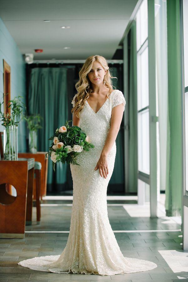 White Sequin Wedding Dress | John Schnack Photography | http://heyweddinglady.com/succulents-sparkles-stripes-modern-socal-wedding/
