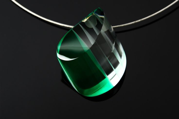 FREE SHIPPING - Handmade Modern Glass Necklace, Mysterious green glass with crystal plates by OlivaGlass on Etsy