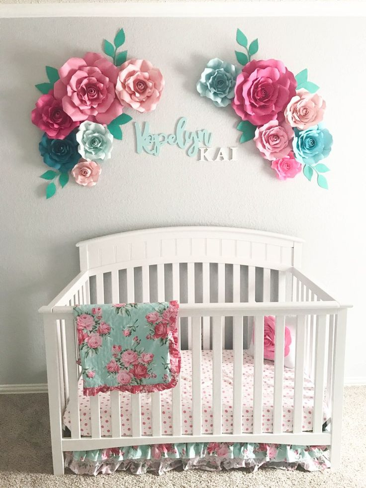 Aqua+Floral+Nursery+||+Paper+Flowers+||+Floral+Arrangement+Over+Crib+||+Crib+Wall+Decor