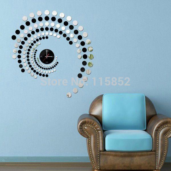 무료 배송! 재료 DIY 거울 벽 시계 171 개 서클 현대적인 홈 장식 패션, 유리 벽 장식