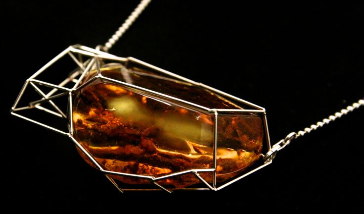 GEOAmber Neckless made of Authentic Baltic Amber (cognac) and Sterling Silver (925)