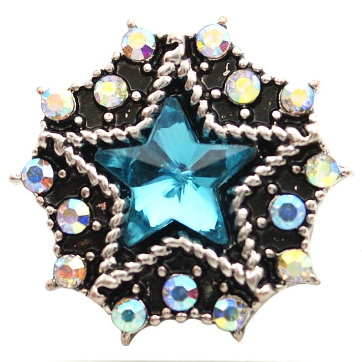 1 PC 18MM Blue Star Rhinestone Chunk Pop Charm Zinc Silver Snap Popper Fits Bracelet Interchangeable kb6824 CC1649 Diameter Size: 18MM Material: Zinc Alloy and rhinestones