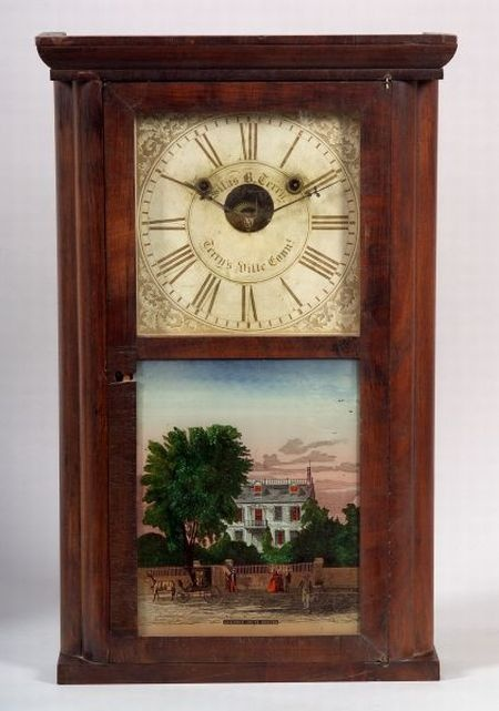 Rosewood shelf clock by Silas B Terry in Connecticut, circa 1845-50