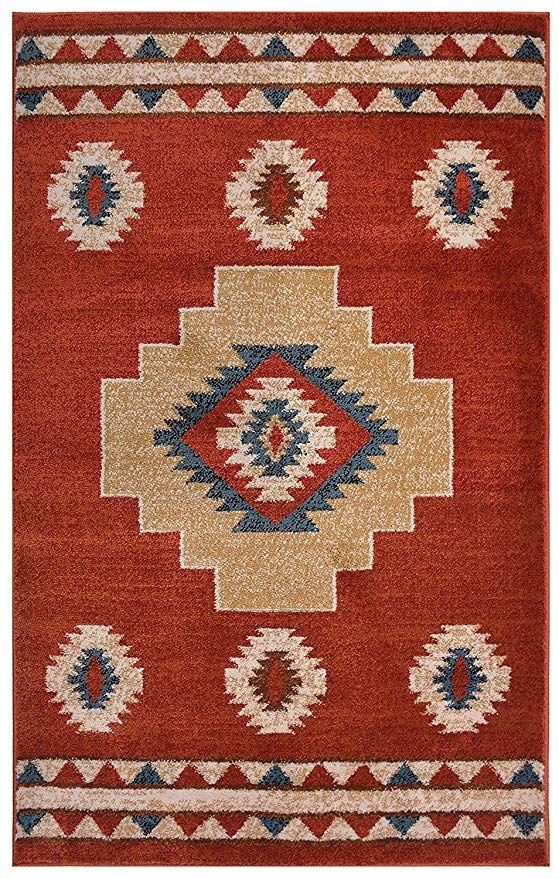 Nevita Collection Southwestern Native American Design Area Rug Rugs Geometric Navy Blue 8 X 10 Kitchen Dining