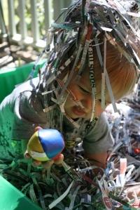 Treasure hunt in shredded paper