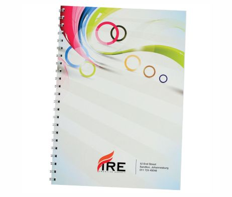 This Spiral Bound Notepad A5 has a full colour cover. / Material: Paper / Branding Type: Digital Print  #brandability #promotionalgifts #notebooks #saproducts