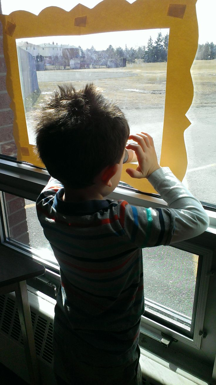 Looking outside for signs of Spring.  Kids made binoculars with cardboard rolls and recorded what they saw on chart paper that was stuck to the wall adjacent to the window.