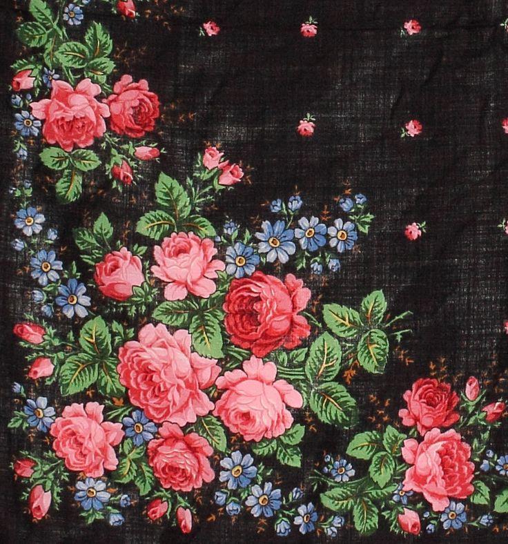 Floral Wool Shawl Russian Folk Scarf In by PoppyVintageCorner