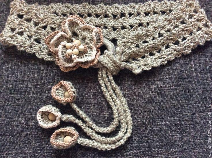 Купить Пояс вязаный декоративный из джута.с цветком. - бежевый, орнамент, пояс ручной работы