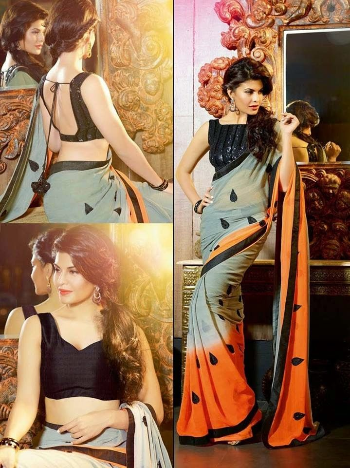 Jacqueline Fernandez In Party Wear Sarees By Lalit Khatri From 2015