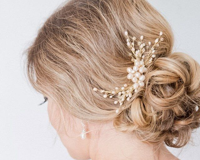 Triple Branch Pearl Floral Hairpiece - Sarah Walsh Bridal Jewellery - 1