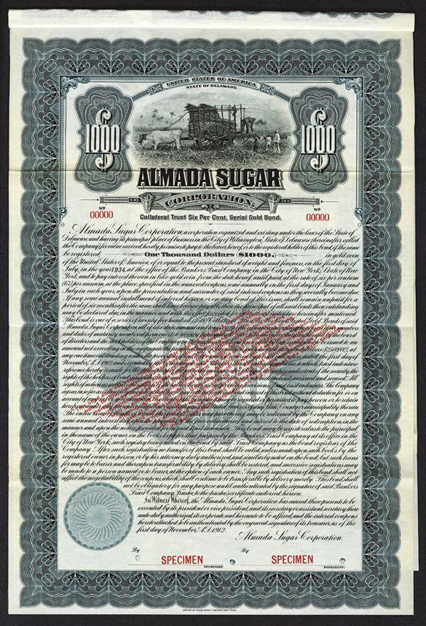 Aknada Sugar Corp. 1912 Specimen Bond. - Archives International Auctions