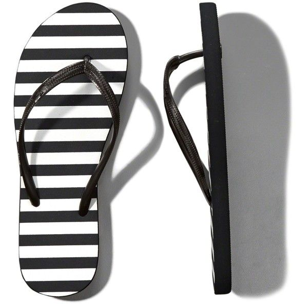 Abercrombie & Fitch Striped Rubber Flip Flops found on Polyvore