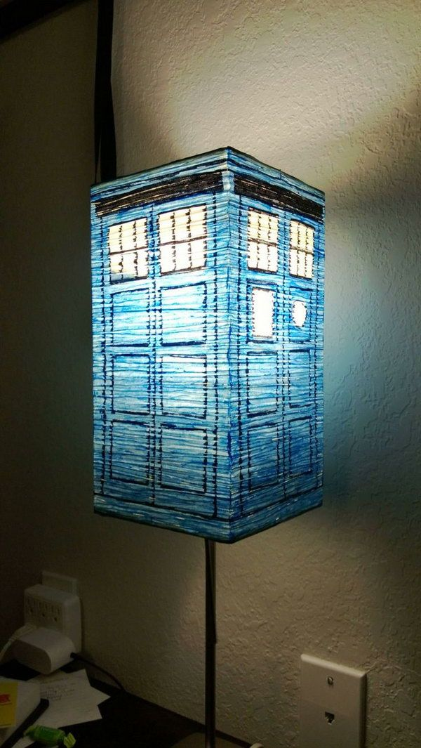 All it takes to create your own TARDIS is a lamp and a sharpie. http://hative.com/doctor-who-or-tardis-designs-and-ideas/