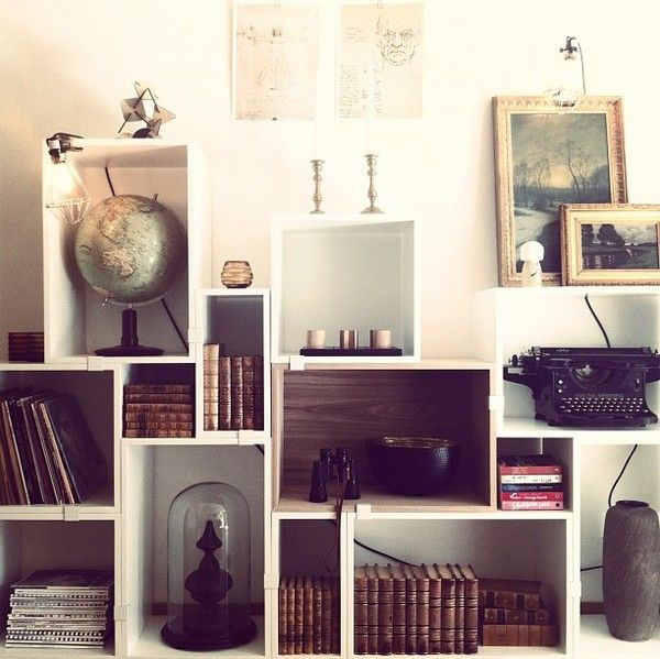 mix and match, different size of boxes - from emmas designblogg - design and style from a scandinavian perspective