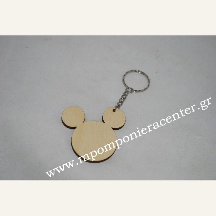 Μπρελόκ χειροποίητο ξύλινο τύπου mickey mouse