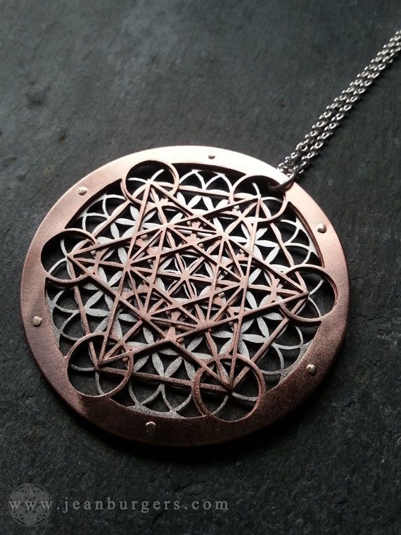 Large Metatron's Cube and Flower of Life Pendant - sterling silver, copper and 9ct gold