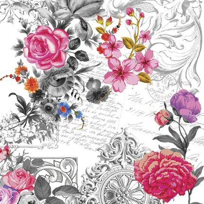 Салфетки для декупажа 3-сл., 20шт Королевская Роза 33x33см Paw SDL971000