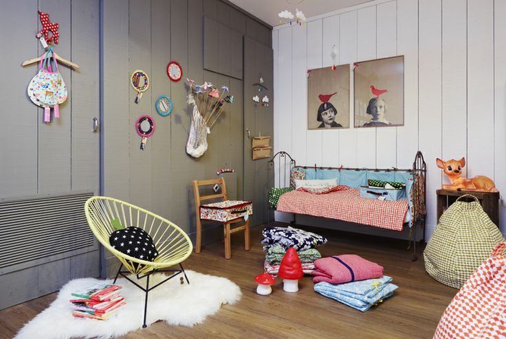 For Kids roomKids Spaces, Red Poppies, Kids Room, Boys Decor, Girls Room, Kidsroom, Grey Wall, Kid Rooms, Eclectic Kids