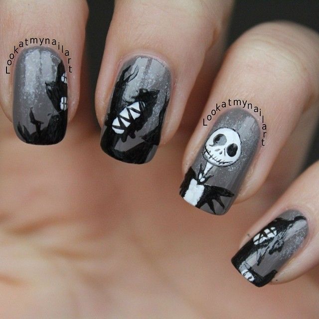 Jack and Zero inspired nails Love!!! ❤ Nails by ...