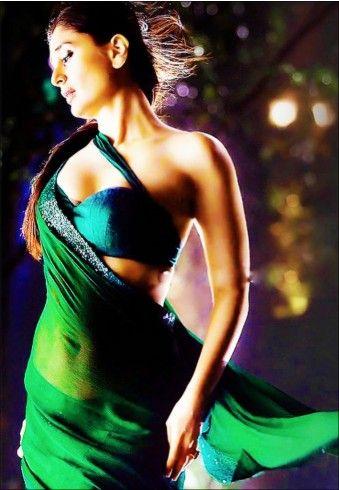 Kareena in #Bollywood #Saree BrandRamdev Sarees ColorGreen FabricChiffon