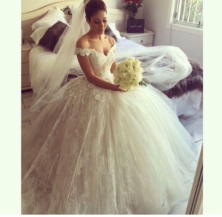 2015 elegante fora do ombro manga Appliqued Puffy princesa vestidos de noiva em Vestidos de noiva de Casamentos e Eventos no AliExpress.com | Alibaba Group